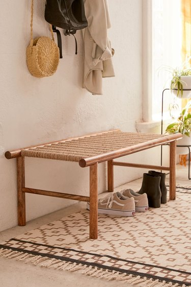 woven Hallway Benches with rug from urban outfitters