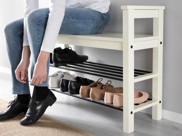 IKEA Hallway Benches with shoe storage, shoes.