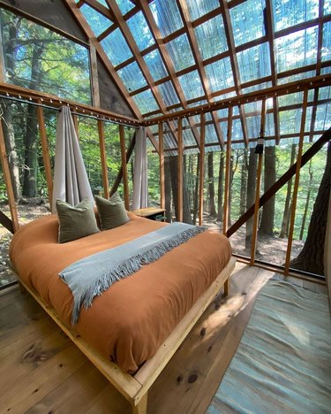 interior view of a cabin with bed