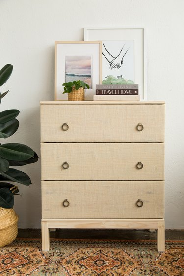 Ikea Hack Textured Fabric Covered Drawer Fronts
