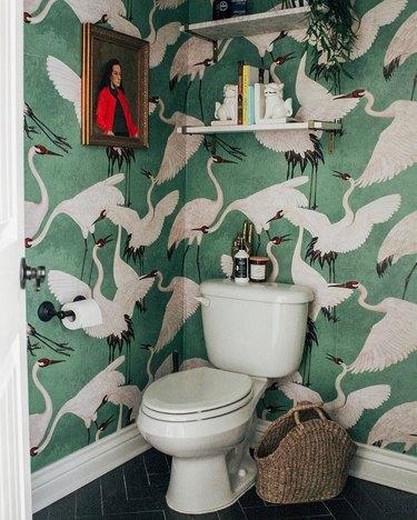 Sarisa Munoz The Indigo Leopard Home bathroom with bird pattern wallpaper