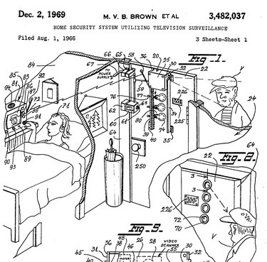 Patent 3,482,037 showing a diagram of the Marie Van Brittan Brown's security system