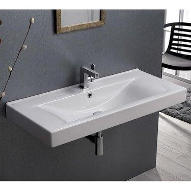 Ceramic Bathroom Sink Nameeks Mona White Ceramic Wall-Mount Rectangular Bathroom Sink with Overflow Drain from Lowe's