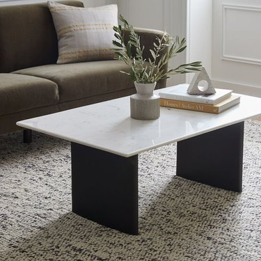 marble coffee table near couch