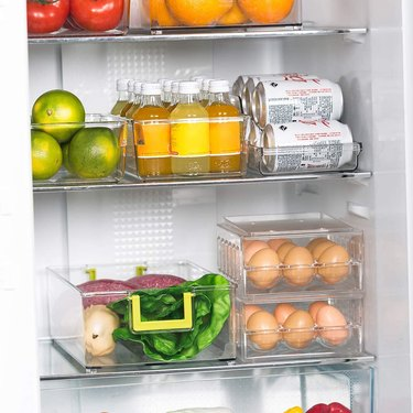 stackable refrigerator storage drawer with handles