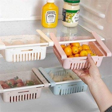 retractable refrigerator storage drawers
