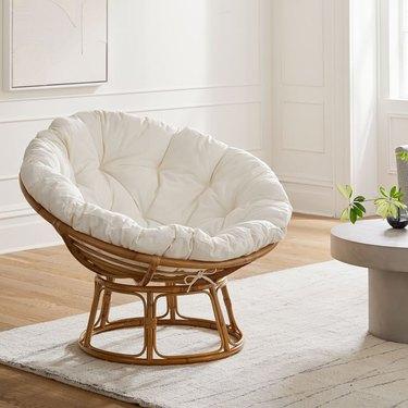 chair with white cushion