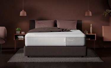 casper mattress in brown bedroom