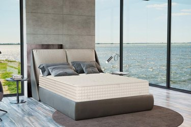 mattress in room with ocean view