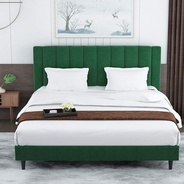 Amolife Queen Size Platform Bed Frame Light Green Velvet Upholstered with Headboard