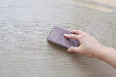 sanding block on wood