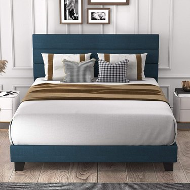 Allewie Queen Size Platform Bed Frame with Fabric Upholstered Headboard