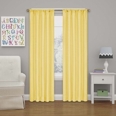 lime blackout curtains in room