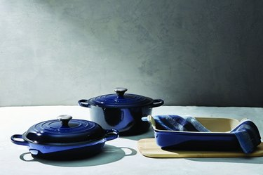 group of le creuset items