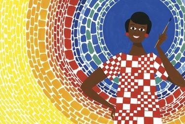 illustration of Alma Thomas holding paintbrush with colorful background