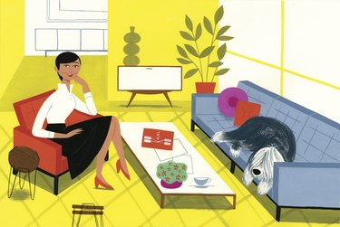 illustration of Florence Knoll in room with blue couch and yellow walls