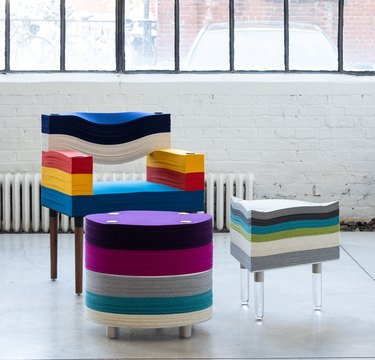 stacklab felt collection arm chair and two side tables