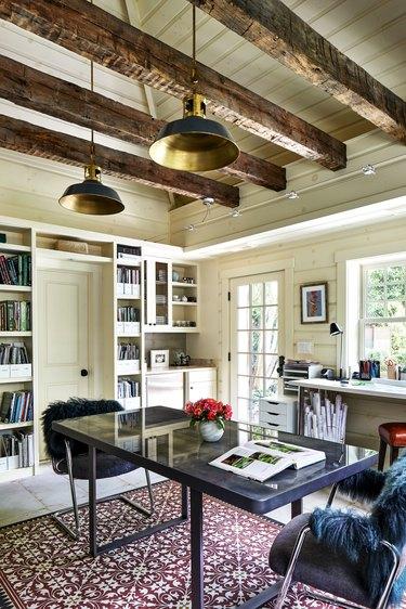 Desk Organization Ideas with Garage converted into home office by Ballard + Mensua Architecture