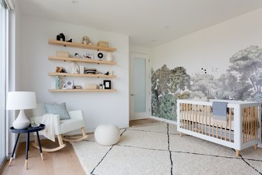 Toy storage in minimalist nursery