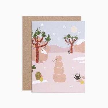 joshua tree-themed holiday card