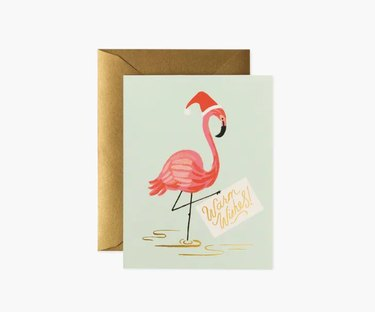 "flamingo with ""warm wishes"" greeting card"
