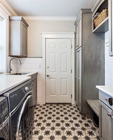 mudroom storage combined with laundry room