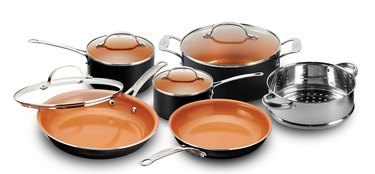 Black and copper cookware set