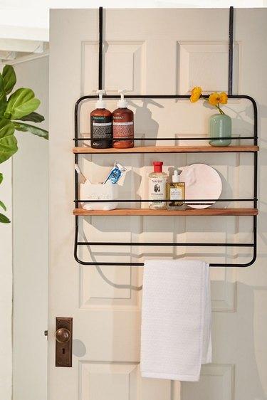 Makeup Organizer Ideas with Over the door shelves and towel rack hanger.
