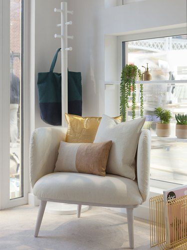 Eco-Friendly Interior Design with armchair with vegan leather cushions