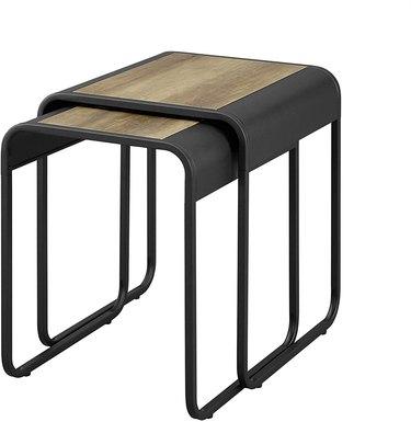 Walker Edison Furniture Company Curved Metal Frame Nesting Side Table Set