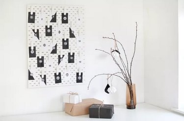 Modern Advent Calendar Using an IKEA Pegboard