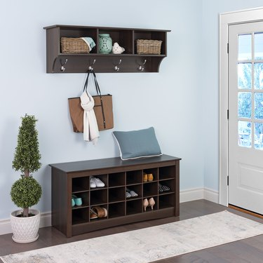 shoe storage bench with cubbies