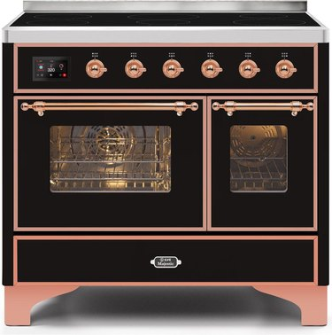 Black and rose gold induction stove with double oven