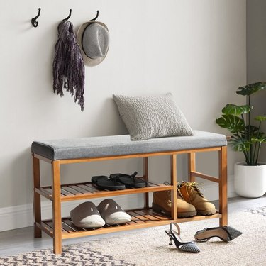 shoe storage bench upholstered