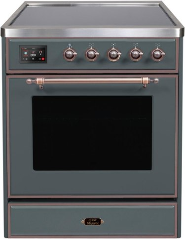 Blue and brass induction stove with single oven and knobs