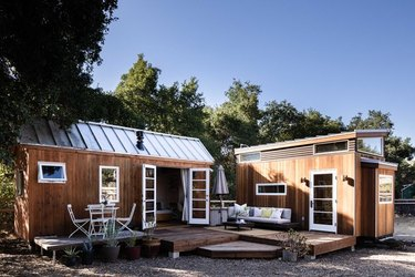 tiny wooden house with eco-friendly home design