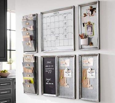 Homeschool Organization with Metal file wall file holders, whiteboard, metal magnetic boards, chalkboard.