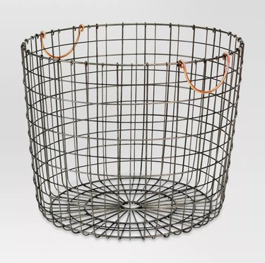 Black wire storage container with copper handles