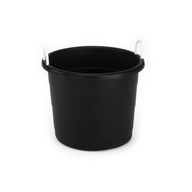 Black plastic storage container with white rope handles