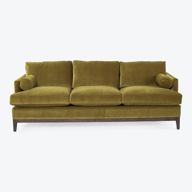 velvet traditional green eco-friendly couch from Cobble Hill