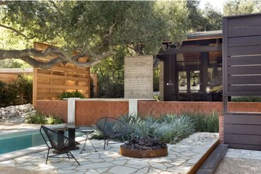 Water-wise patio plantings on eco-friendly patio
