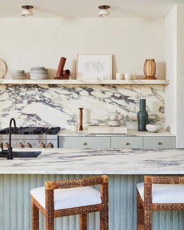 kitchen with marble backsplash