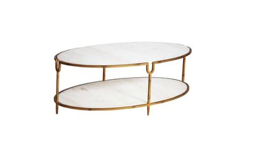 oval marble coffee table with storage and hammered iron frame