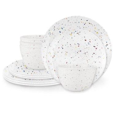 white terrazzo-inspired eco-friendly dinnerware