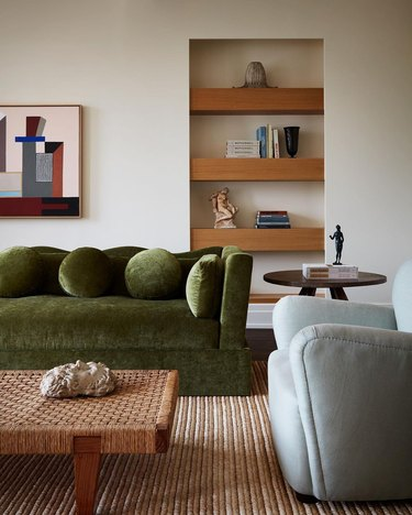 green couch in living room