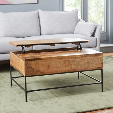 mango wood pop-up coffee table with storage