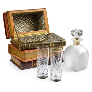 Leather Books Spines Box with Decanter & Glasses