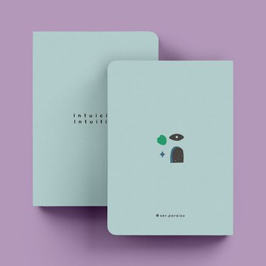 two green notebooks