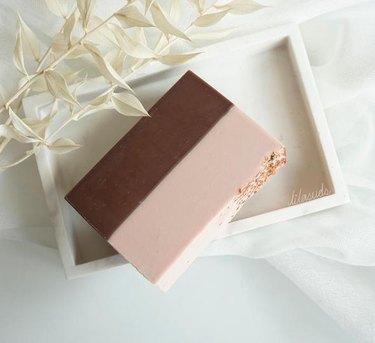 artisan soap on white tray