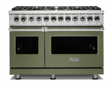 stove brand Viking with green double oven stove